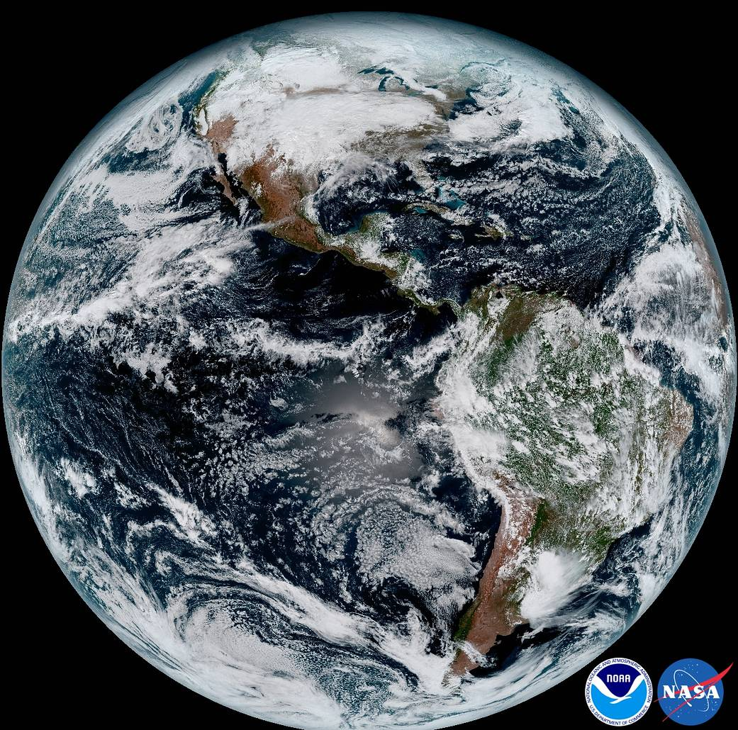 image of earth from NASA weather satellite in January 2017